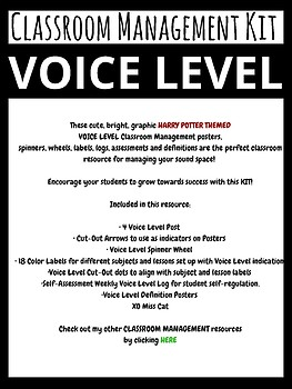 HARRY POTTER Theme Voice Level Classroom Management Kit and Posters