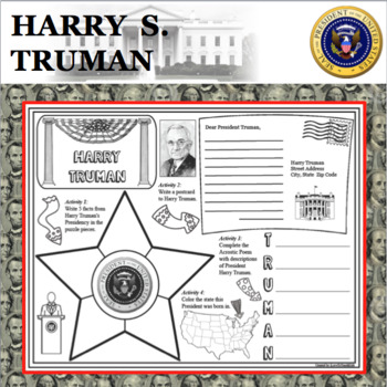 HARRY S. TRUMAN POSTER U.S. President Research Project Biography
