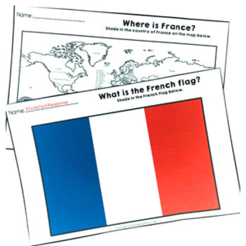 Christmas Around the World ** France ** Maps, Flags, Information Cards & Recipe
