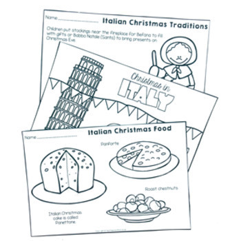 Christmas Around the World ** Italy ** Maps, Flags, Information Cards & Recipe