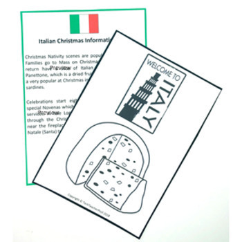 Christmas Around the World ITALY Maps Flags Information Cards and Recipe