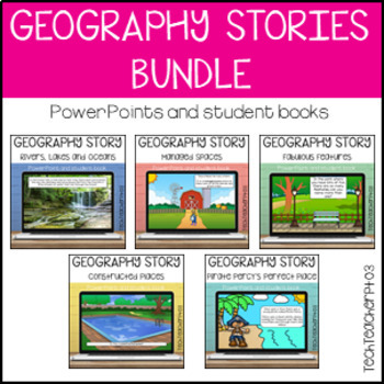 HASS Geography Stories Bundle Illustrated Story Slides and Worksheets