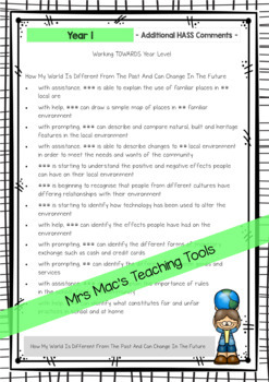 Geography - History - HASS - Australian Curriculum - Report Writing - Year 1