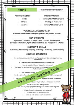 HASS  - Report Writing Comments - Year 5 - Australian Curriculum