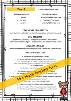 HASS  - Report Writing Comments - Year 6 - Australian Curriculum