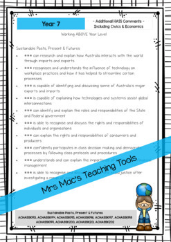 HASS  - Report Writing Comments - Year 7 - Australian Curriculum