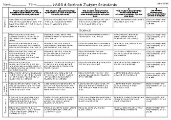 HASS & Science Judging Standards - Year 1