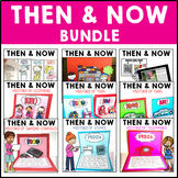 Then and Now History Bundle Research, QR Codes, Interactive Notebook and Diorama