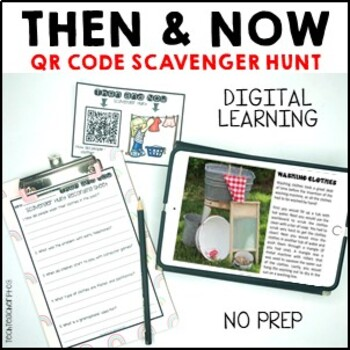 Then and Now Social Studies History Scavenger Hunt with QR Codes