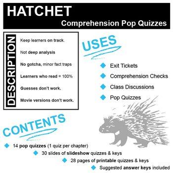 HATCHET 14 Pop Quizzes Bundle (by Gary Paulsen)