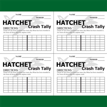 HATCHET Crash Tally (by Gary Paulsen)