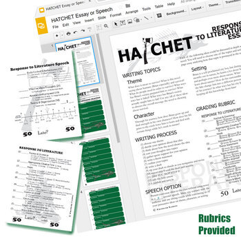 HATCHET Essay Prompts and Speech w Grading Rubrics (Created for Digital)