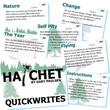 HATCHET Journal - Quickwrite Writing Prompts - PowerPoint