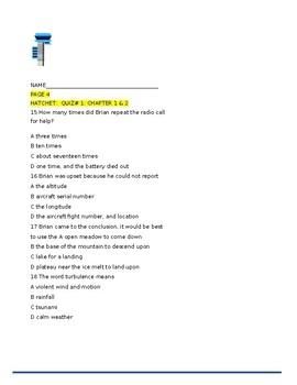HATCHET: (PAULSEN) : A BUNDLE OF QUIZZES & FUN ACTIVITES:60 PAGES