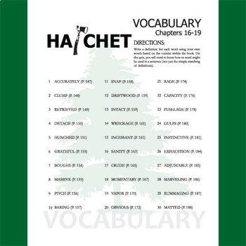 HATCHET Vocabulary List and Quiz (30 words, chs 16-19)