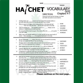 HATCHET Vocabulary List and Quiz (30 words, chs 4-7)