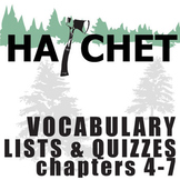 HATCHET Vocabulary List and Quiz (30 words, chs 4-7)