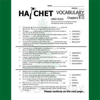 HATCHET Vocabulary List and Quiz (30 words, chs 8-12)