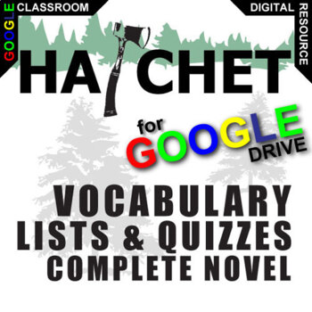 HATCHET Vocabulary List and Quiz Assessment (Created for Digital)