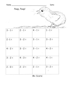 EGG  HATCHING CHICK Addition and Subtraction Fluency Practce (within 5)   K.OA.5