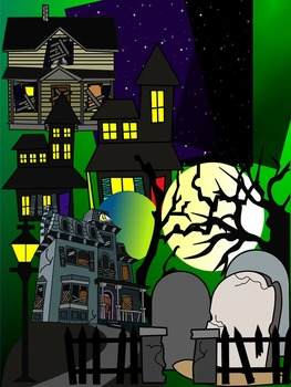 HAUNTED HOUSE CLIP ART * COLOR AND BLACK AND WHITE
