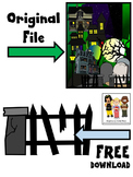 HAUNTED HOUSE CLIP ART * FREEBIE * COLOR AND BLACK AND WHITE
