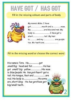 HAVE GOT or HAS GOT grammar set