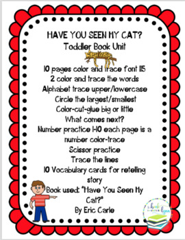 HAVE YOU SEEN MY CAT  TODDLER BOOK UNIT