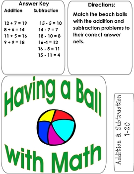 HAVING A BALL WITH MATH File Folder Game addition/subtraction 1-20