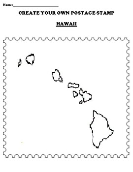 HAWAII Create your Own Postage Stamp Worksheet