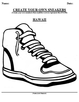 HAWAII Design your own sneaker and writing worksheet