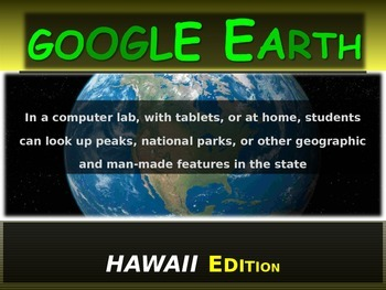 """""""HAWAII"""" GOOGLE EARTH Engaging Geography Assignment (PPT &"""