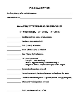 HAWAIIAN CANOE PROJECT AND RUBRIC (GRADE 4)