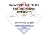 HAZMAT FIRST RESPONDER AWARENESS (Hazardous Materials)