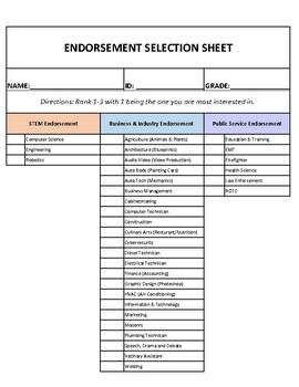 HB5 (Texas) Endorsement Selection Form -PDF
