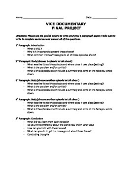 HBO'S VICE PAPER OUTLINE