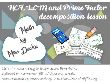 HCF LCM and Prime Factors Lesson