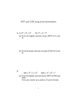HCF and LCM using prime factorisation worksheet (with detailed solutions)