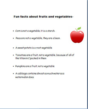 "Nutrition-""Fruits and Veggies""  3 fun activities!"