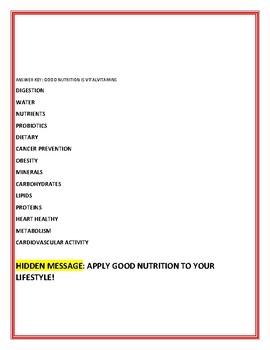 HEALTH: NUTRITION JUMBLE: W/ HIDDEN MESSAGE & ANSWER KEY