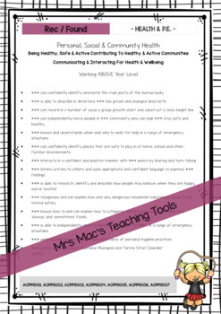 Health & P.E. - Australian Curriculum - Report Writing - Foundation - Year 7