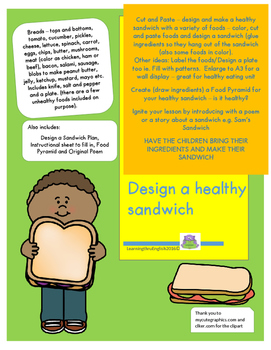 HEALTHY SANDWICH - CUT, PASTE, COLOR, ORIGINAL POEM AND FOOD PYRAMID