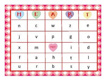 HEART!  A Valentine Bingo Game for Listening/Identifying Consonants/Short Vowels