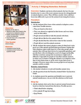HEART Humane Education: Helping Homeless Animals (Grades 3-5 Activity 2)