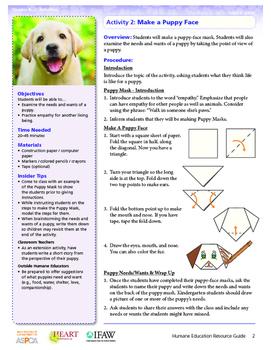 HEART (Humane Education): Activity 2 - Make a Puppy Face (Grades K-2)