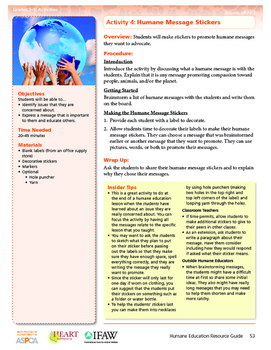 HEART Humane Education: Humane Message Stickers (Grades 3-5 Activity 4)