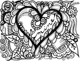 HEART. Be Mine. Valentine Coloring page. Valentines Day.
