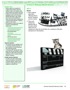 HEART Humane Education: Humane Movie Review (Gr. 6-8, Activity 5)