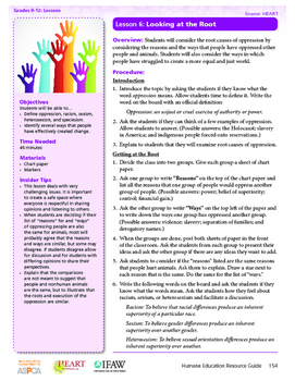 HEART Humane Education: Looking at the Root (Lesson 6, Gr. 9-12)