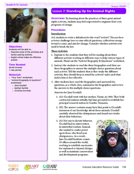 HEART Humane Education: Standing Up for Animal Rights (Lesson 7, Gr. 9-12)